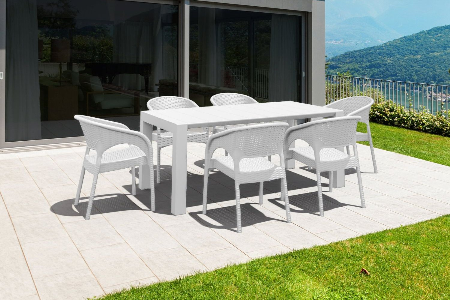 Panama Extendable Patio Dining Set 7 piece White ISP8082S-WH - 3