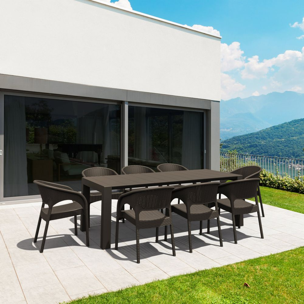 Panama Extendable Patio Dining Set 9 piece Brown ISP8083S-BR