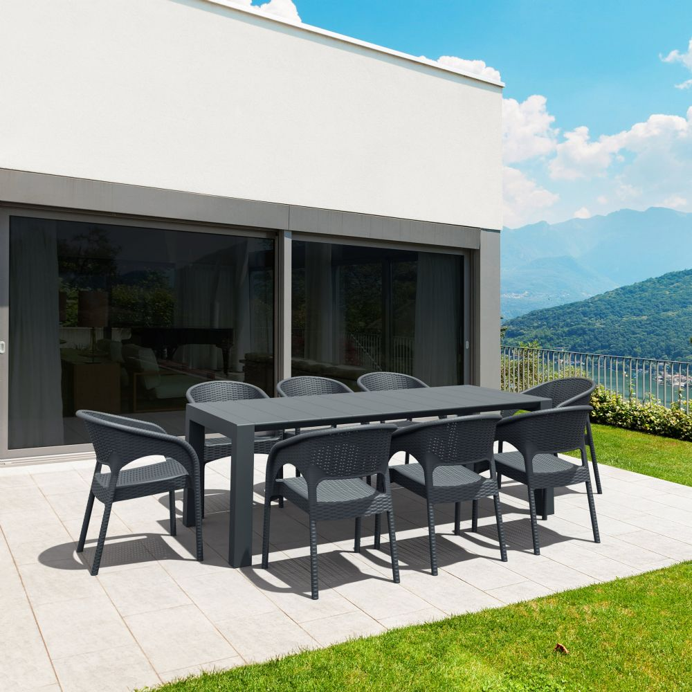 Panama Extendable Patio Dining Set 9 piece Dark Gray ISP8083S-DG