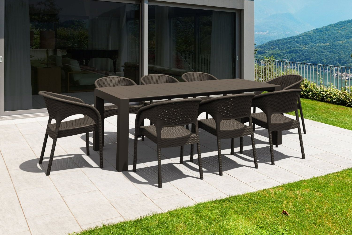 Panama Extendable Patio Dining Set 9 piece Brown ISP8083S-BR - 1