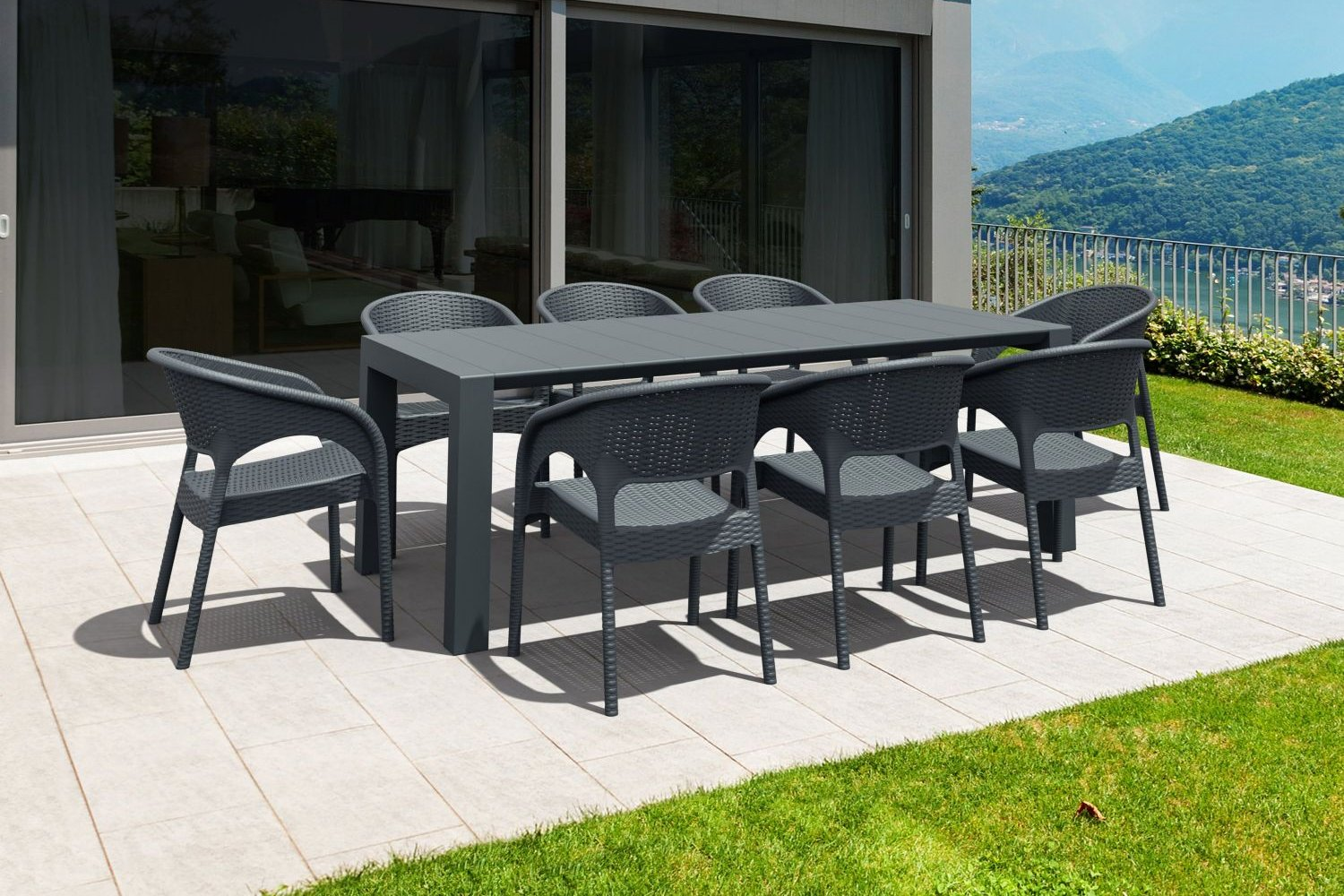 Panama Extendable Patio Dining Set 9 piece Brown ISP8083S-BR - 2