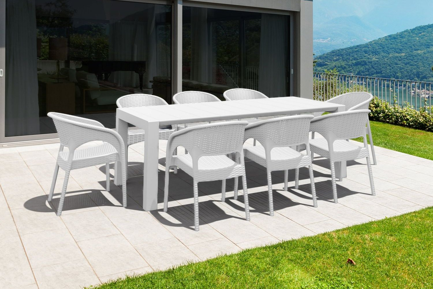 Panama Extendable Patio Dining Set 9 piece Brown ISP8083S-BR - 3