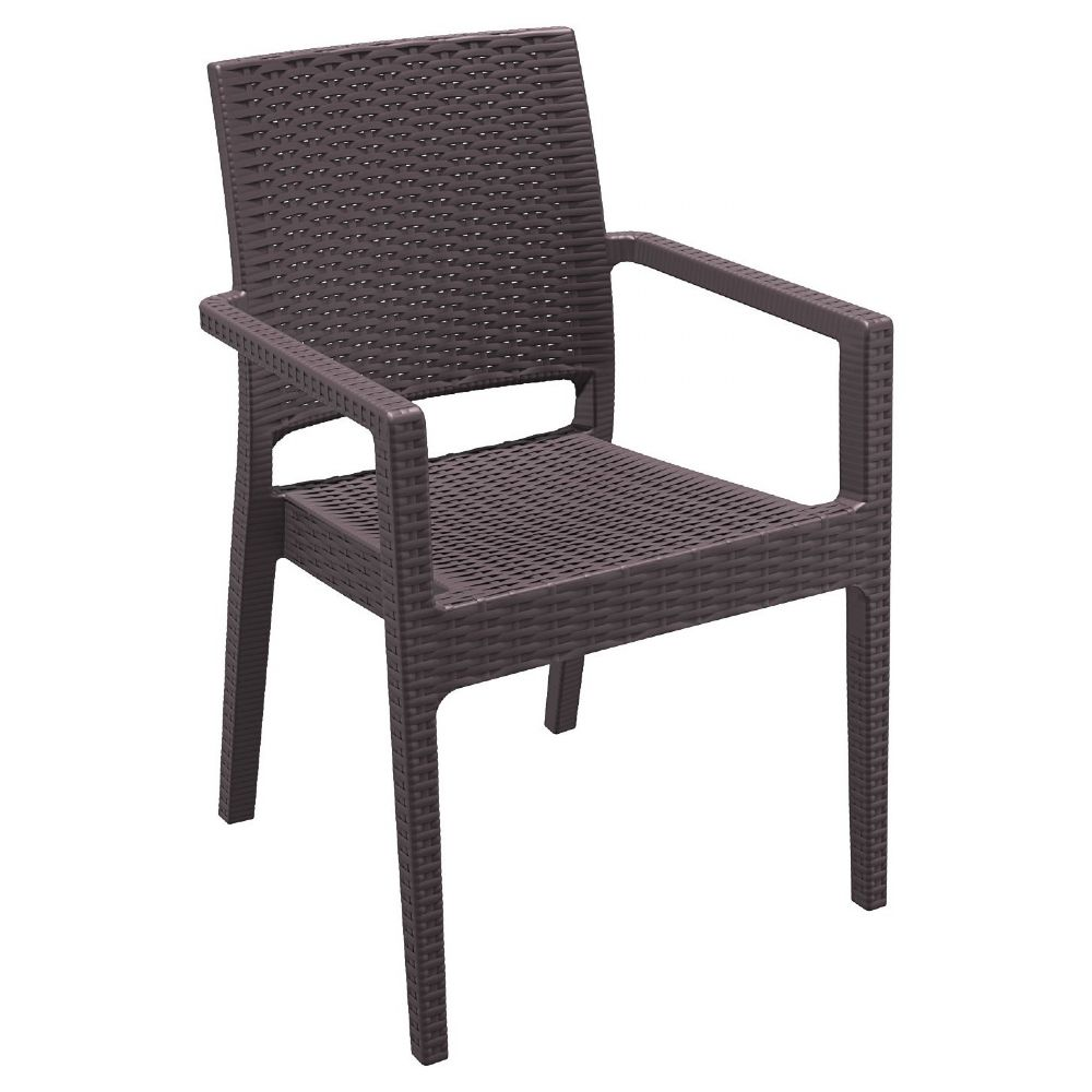 Ibiza Resin Wickerlook Dining Arm Chair Brown ISP810-BR