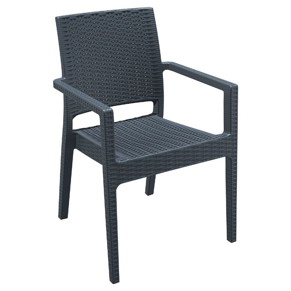 Ibiza Resin Wickerlook Dining Arm Chair Dark Gray ISP810-DG