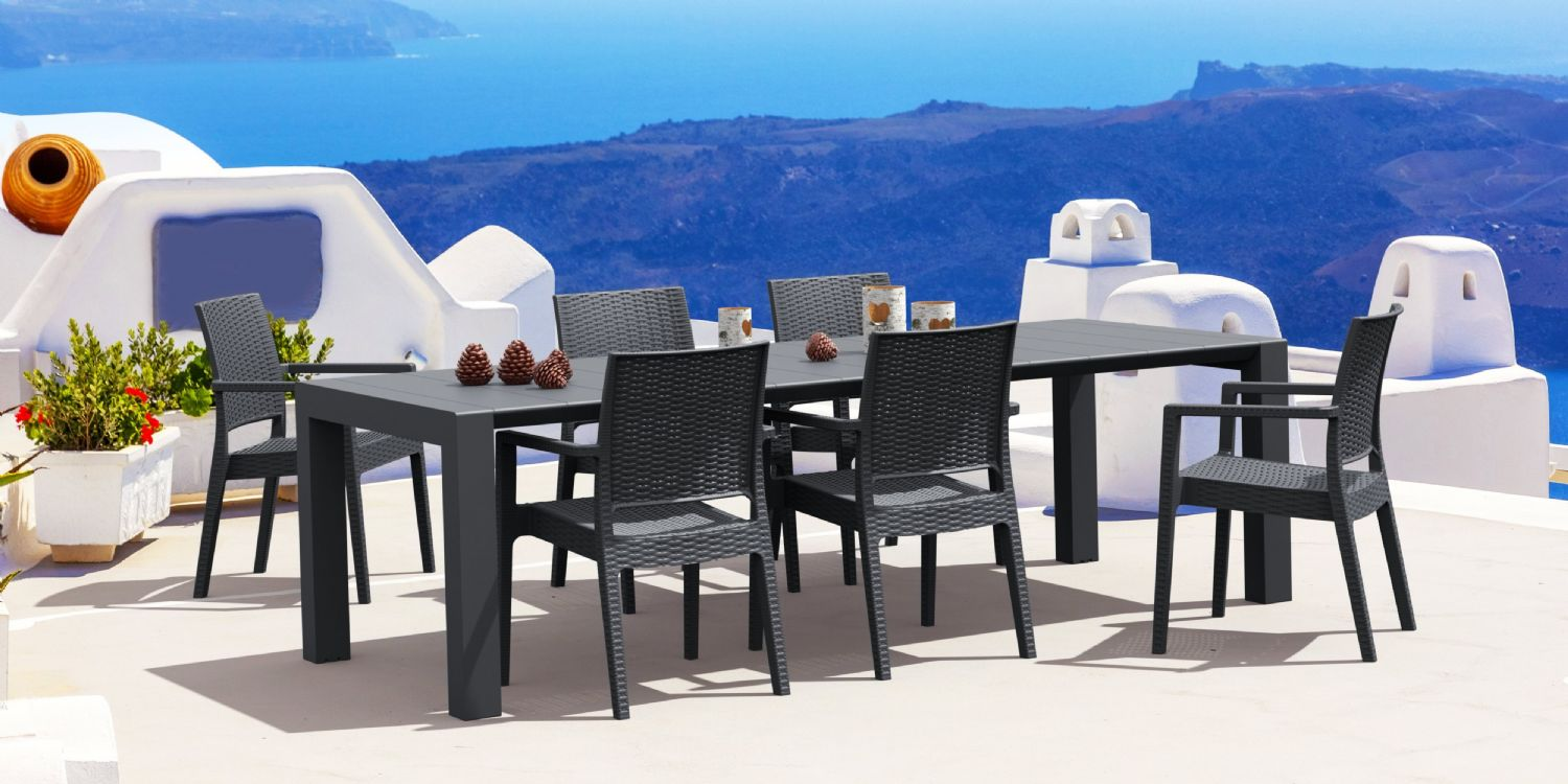 Ibiza Extendable Wickerlook Dining Set 7 piece White ISP8101S-WH - 2