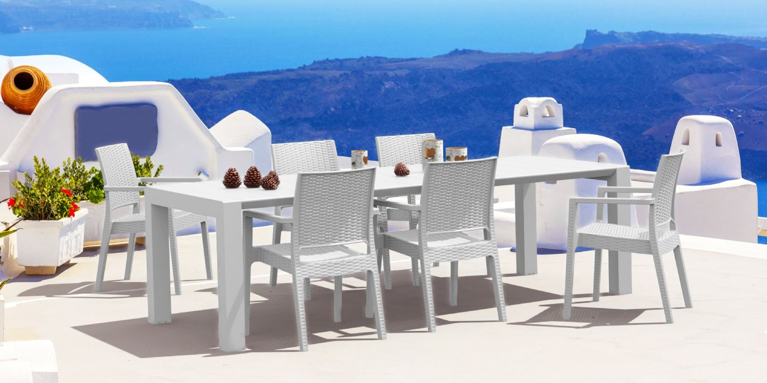Ibiza Extendable Wickerlook Dining Set 7 piece White ISP8101S-WH - 3