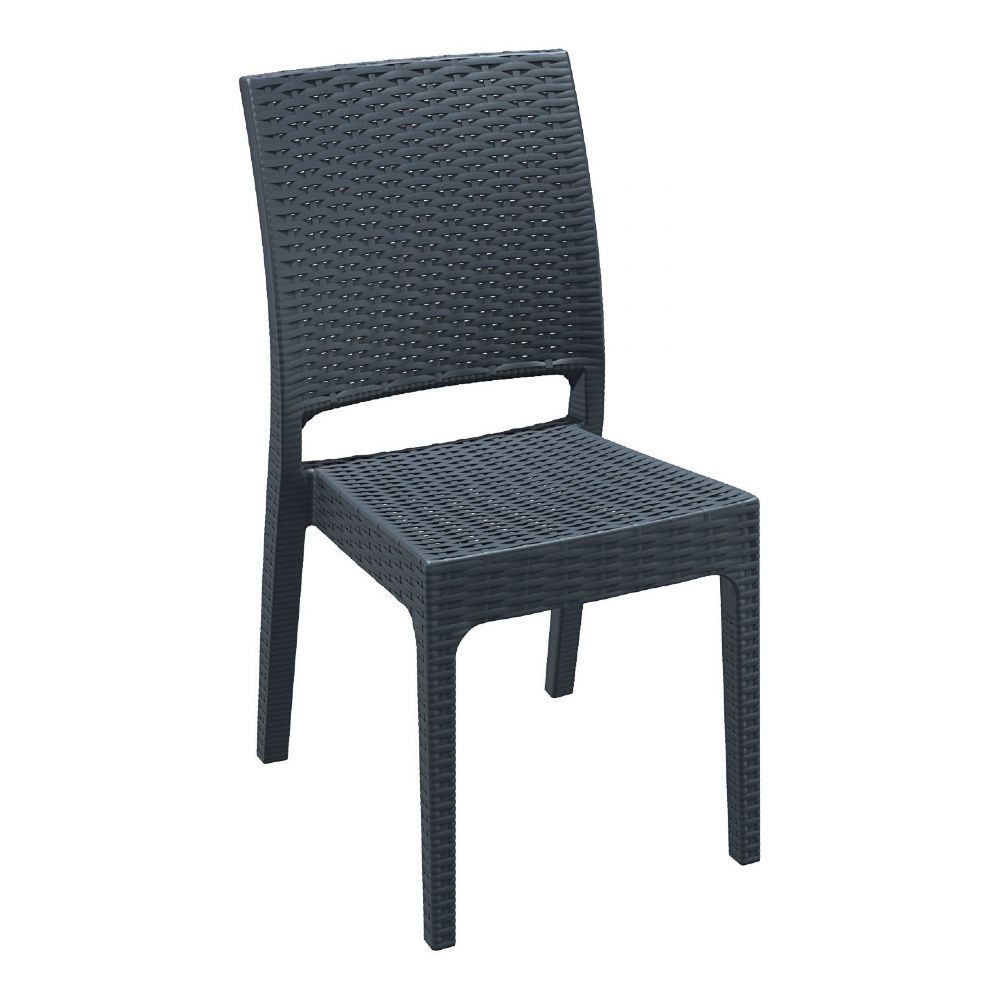 Florida Resin Wickerlook Dining Chair Dark Gray ISP816-DG