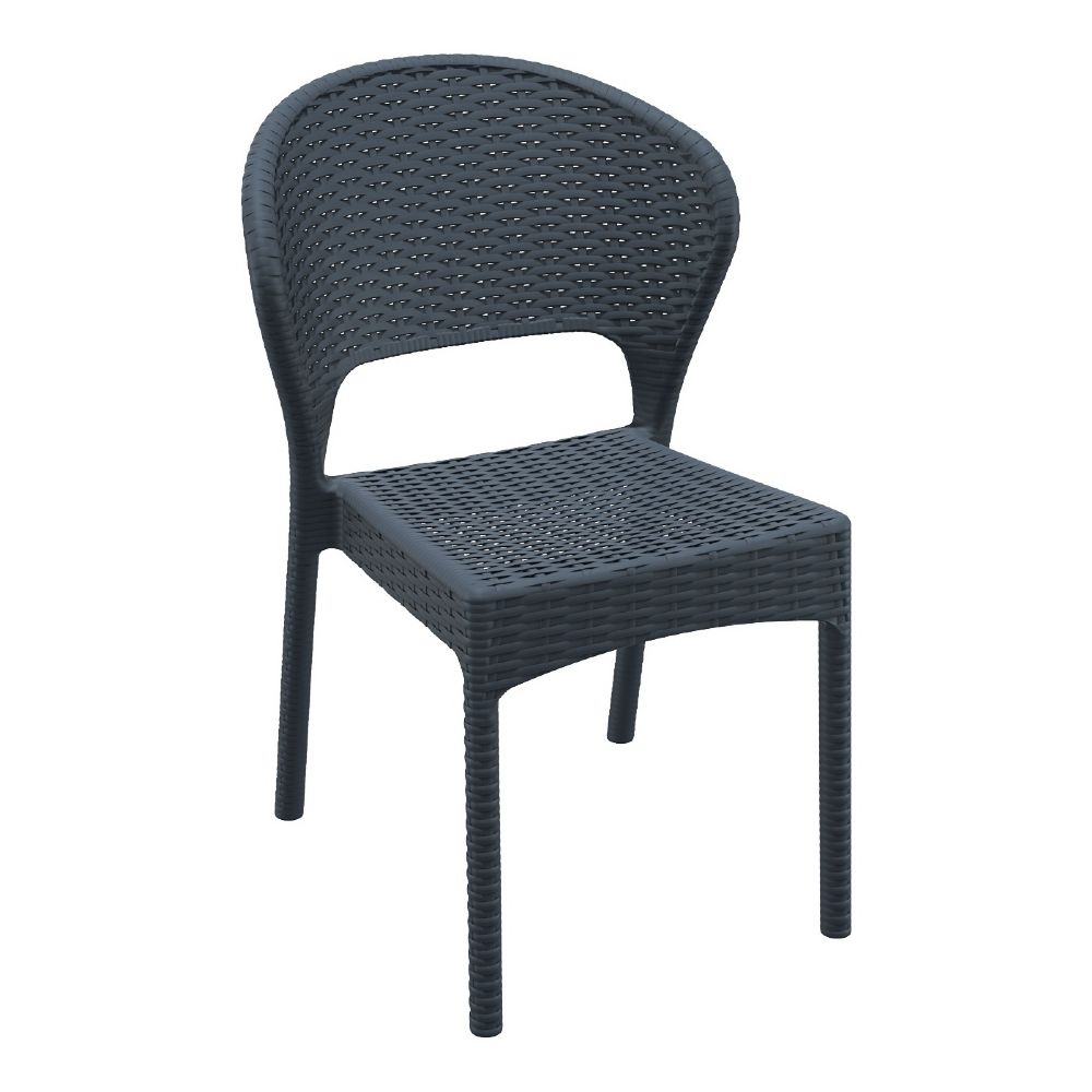 Daytona Wickerlook Resin Dining Chair Dark Gray ISP818-DG