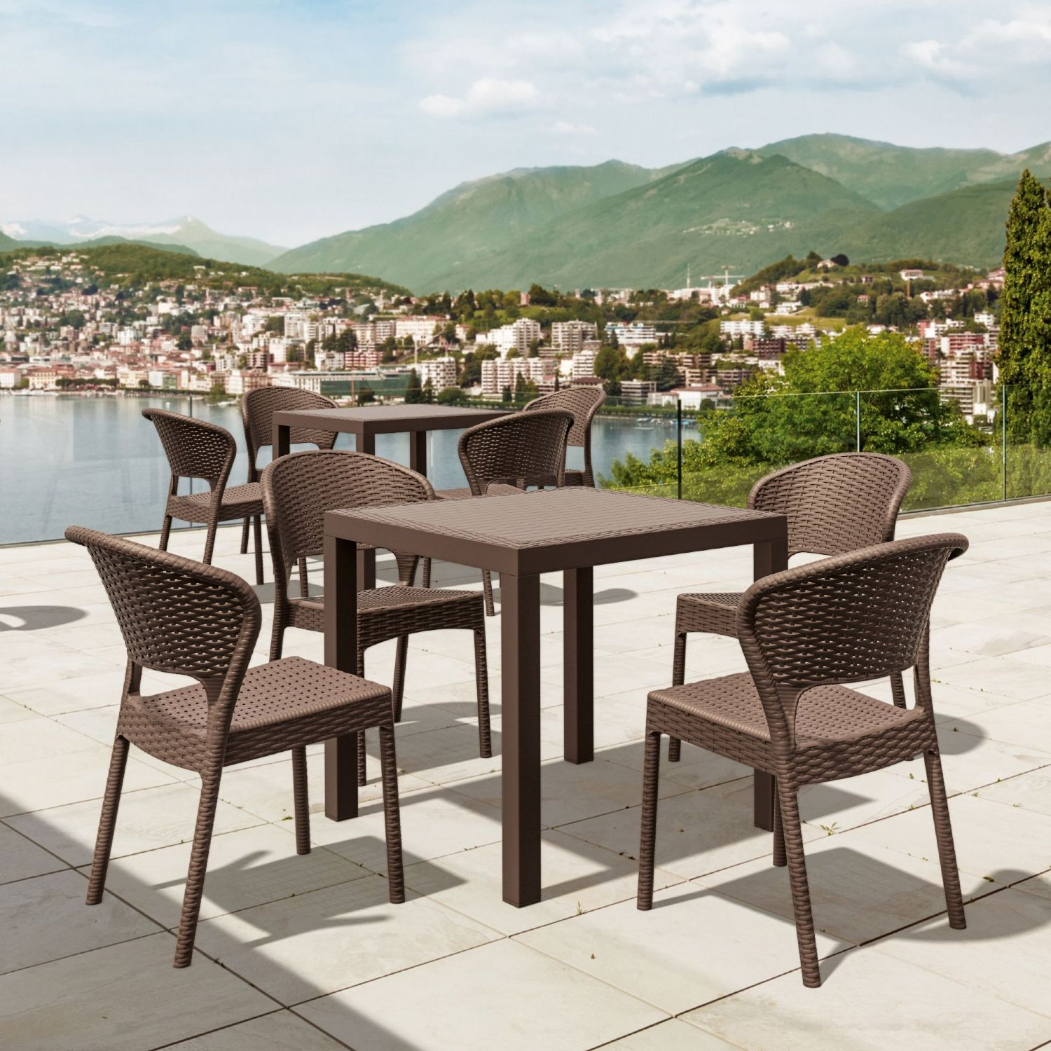 Daytona Wickerlook Square Patio Dining Set 5 Piece Dark Gray ISP8181S-DG - 1