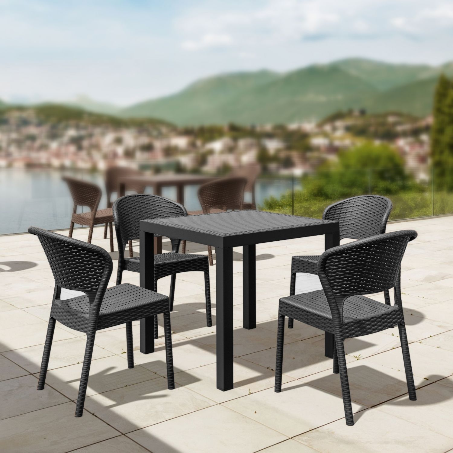 Daytona Wickerlook Square Patio Dining Set 5 Piece Dark Gray ISP8181S-DG - 2