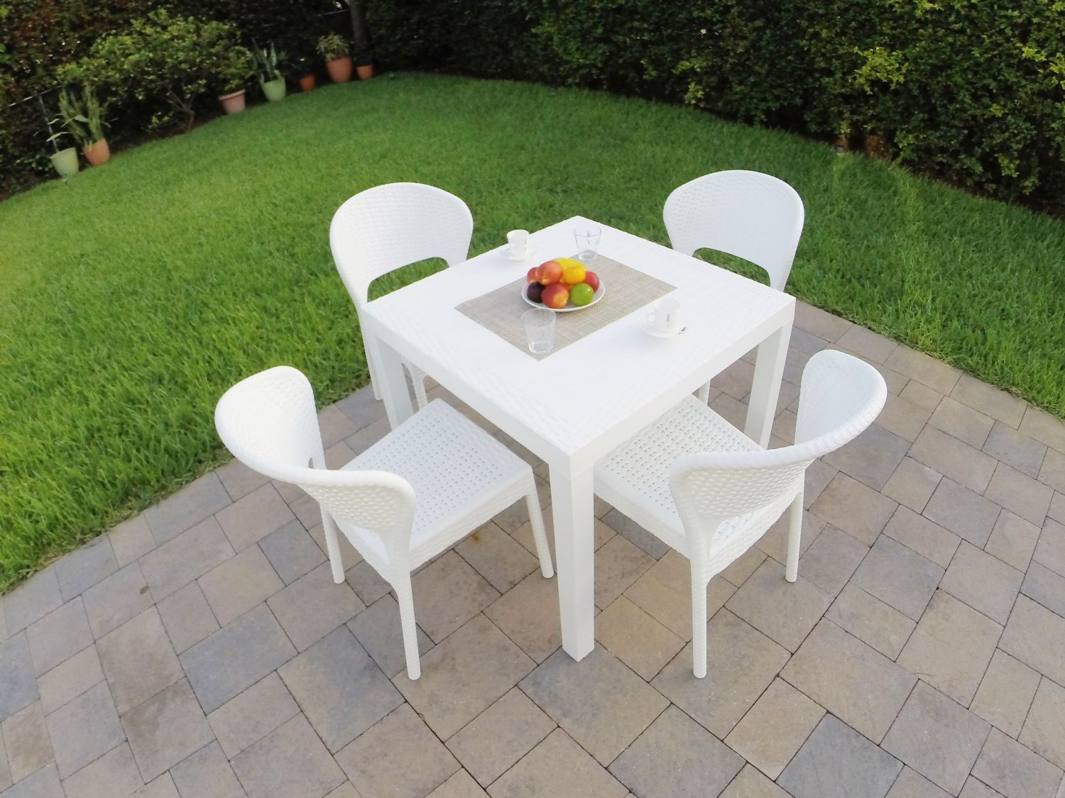 Daytona Wickerlook Square Patio Dining Set 5 Piece Dark Gray ISP8181S-DG - 4