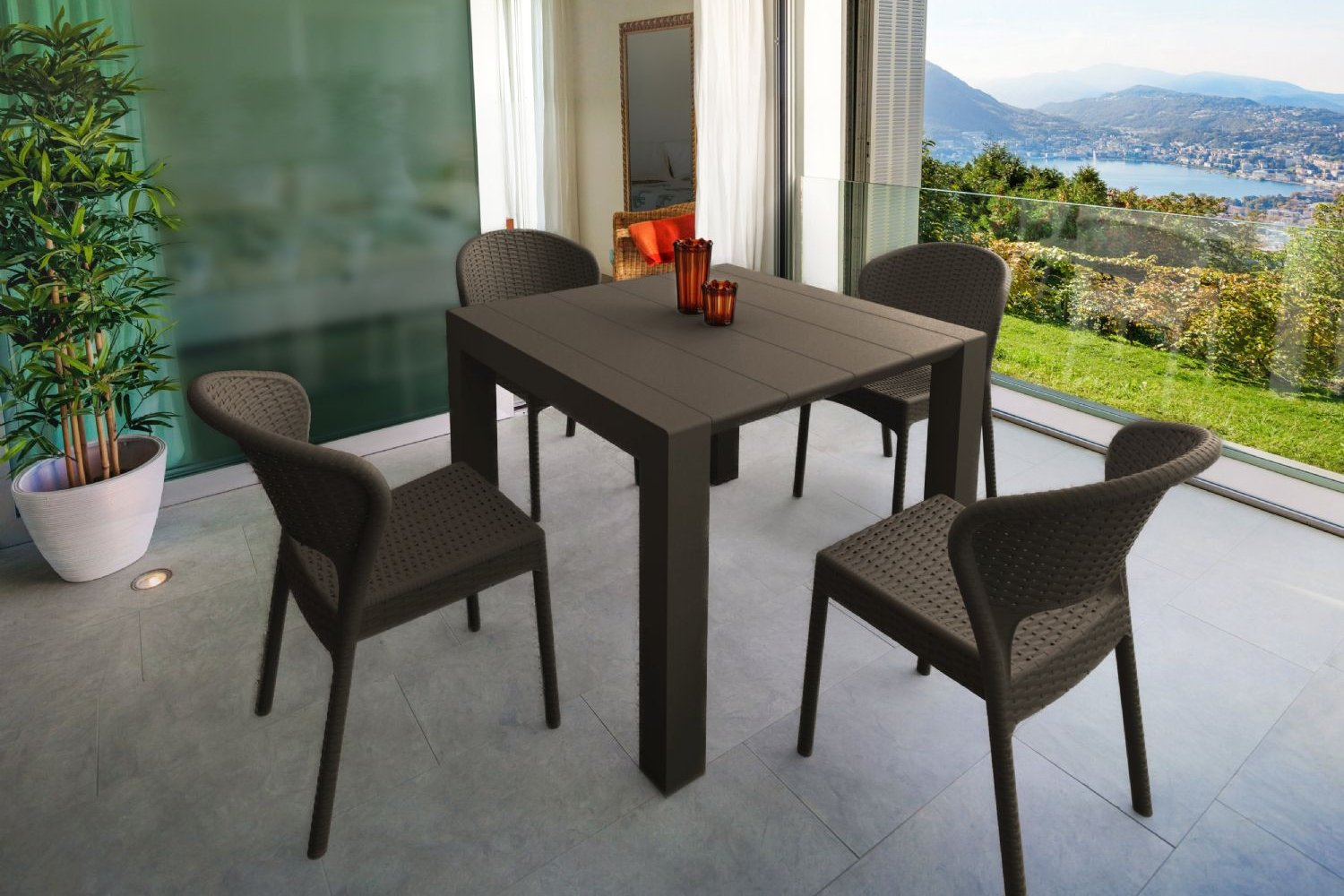 Daytona Extendable Dining Set 5 Piece Brown ISP8182S-BR - 1
