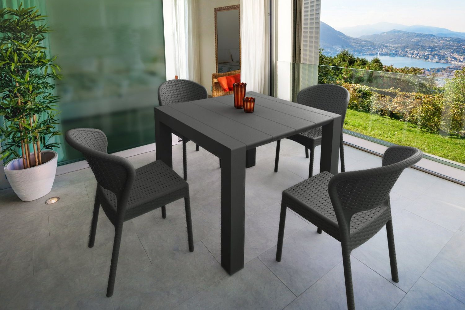 Daytona Extendable Dining Set 5 Piece Brown ISP8182S-BR - 2