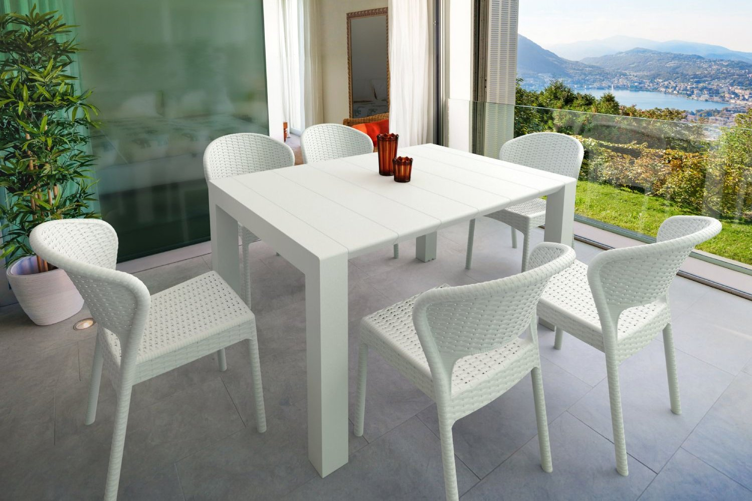 Daytona Extendable Dining Set 7 Piece White ISP8183S-WH - 3