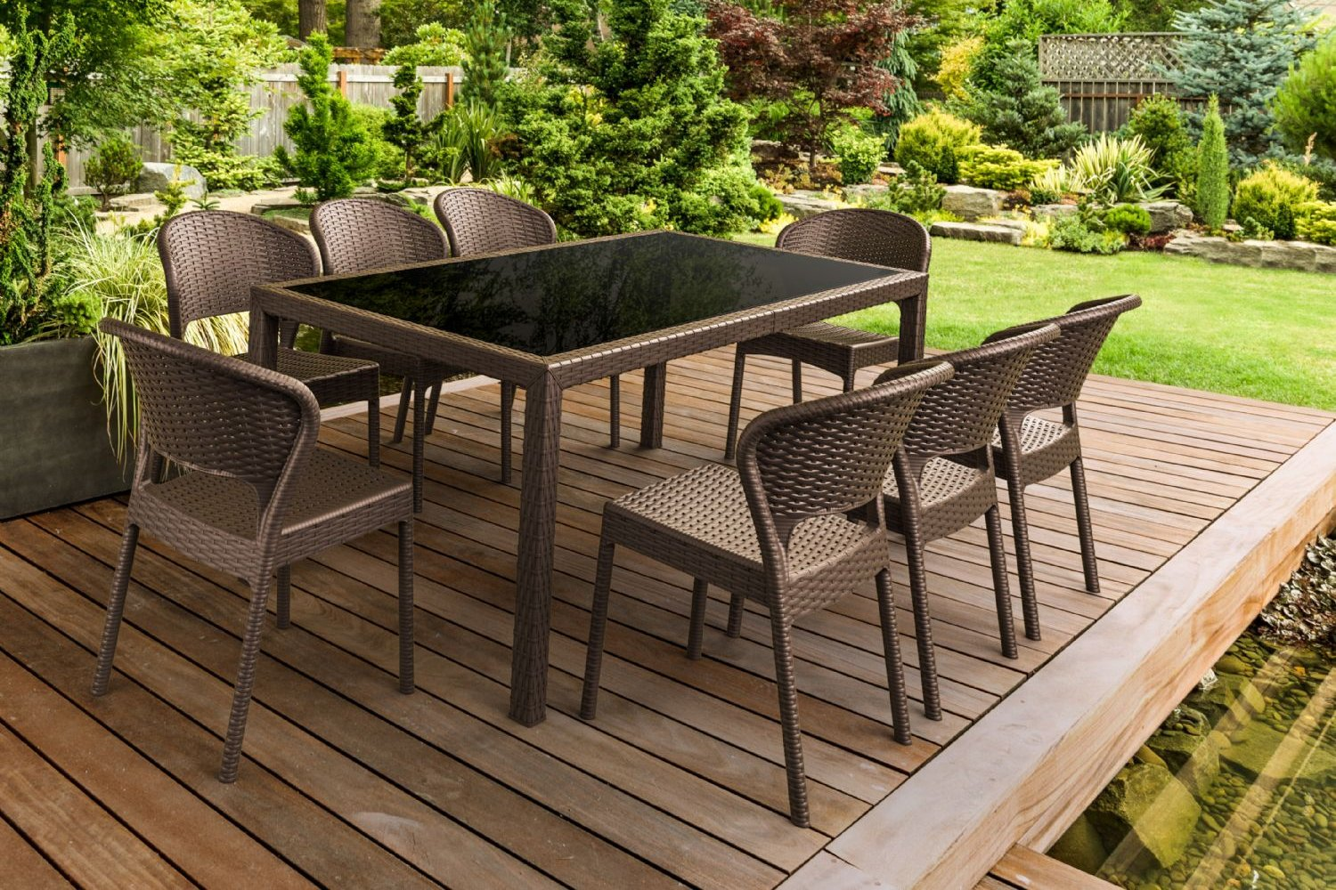 Daytona Glass Top Rectangle Dining Set 9 Piece with Brown ISP8185S-BR - 1