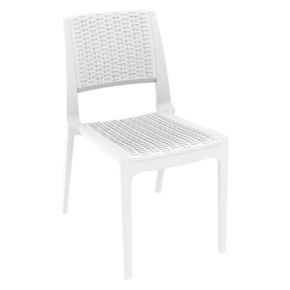 Verona Resin Wickerlook Dining Chair White ISP830-WH