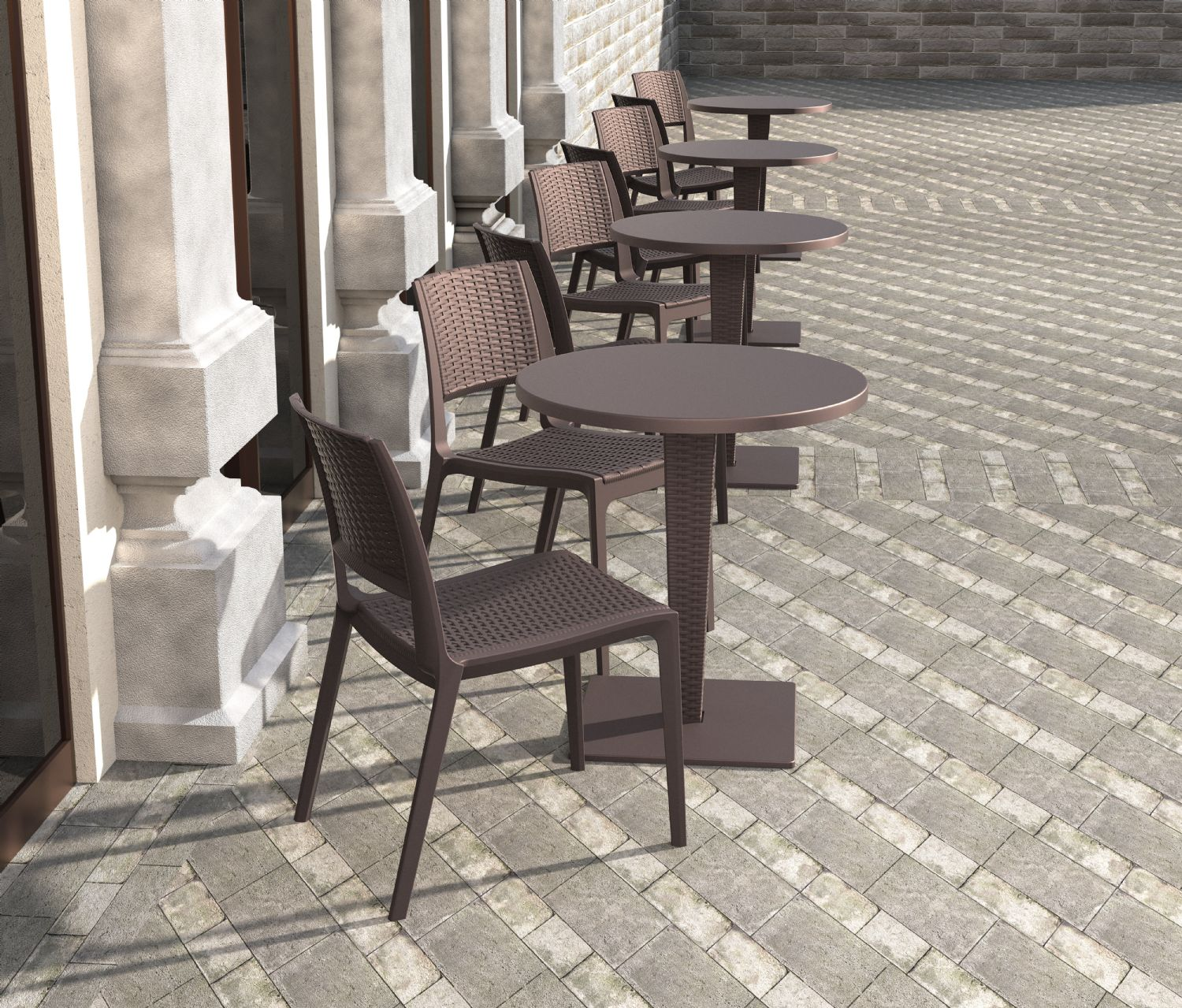 Verona Resin Wickerlook Dining Chair Brown ISP830-BR - 4