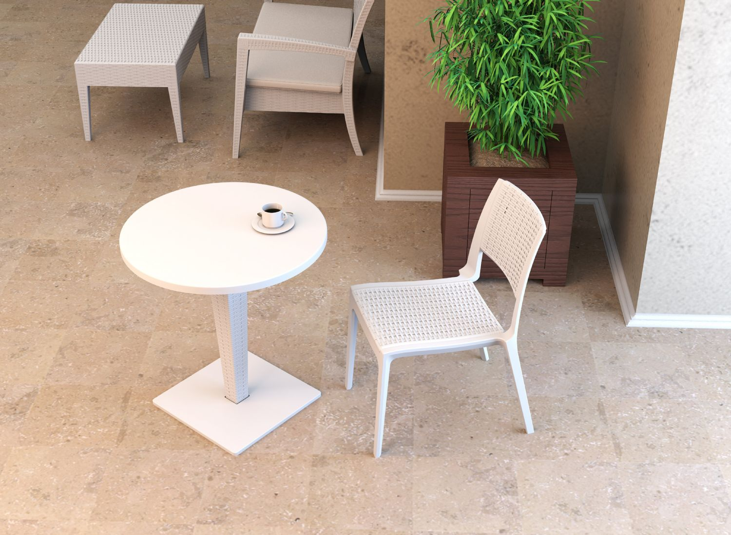 Verona Resin Wickerlook Dining Chair White ISP830-WH - 10