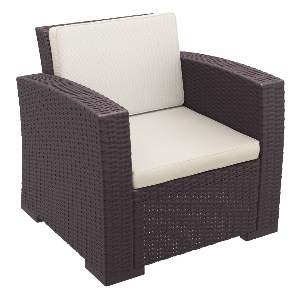 Monaco Wickerlook Club Chair Brown with Cushion ISP831-BR