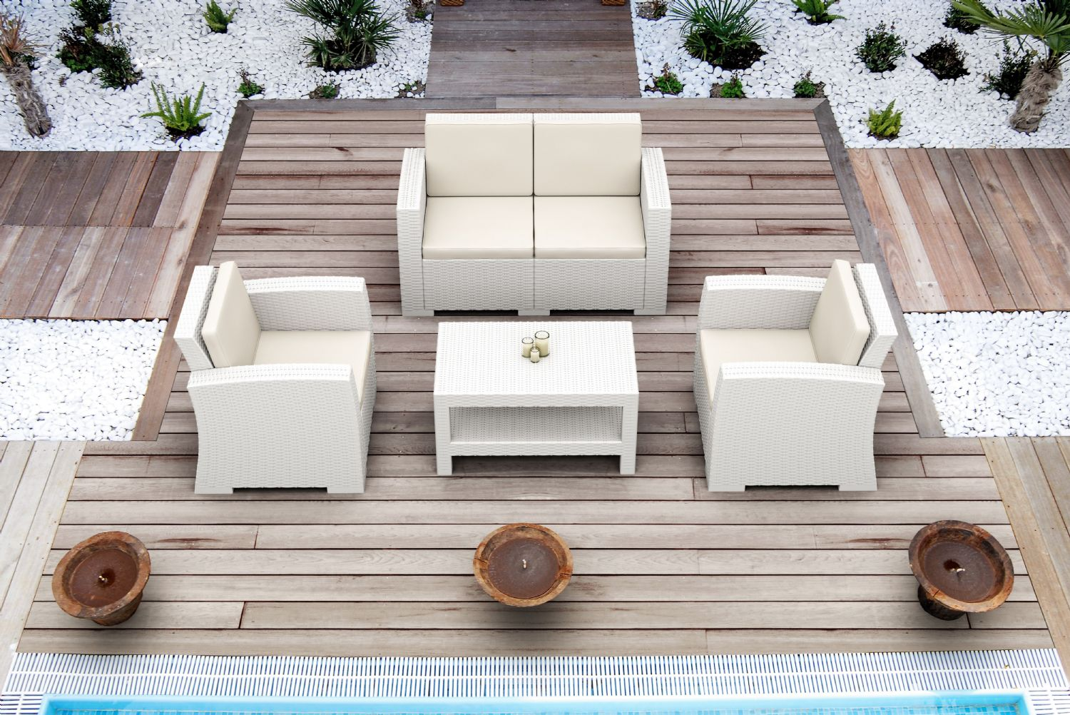 Monaco Wickerlook Club Chair White with Cushion ISP831-WH - 19