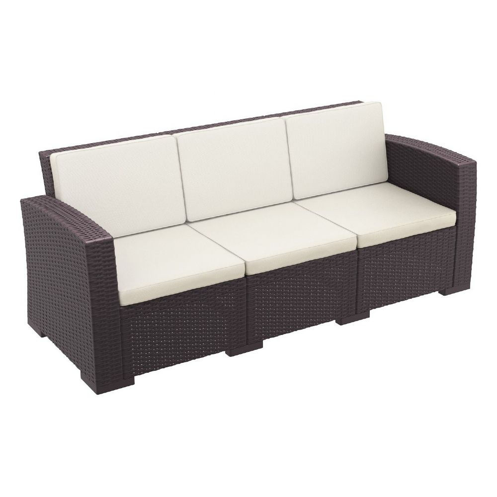 Monaco Wickerlook Sofa XL Brown with Cushion ISP833-BR
