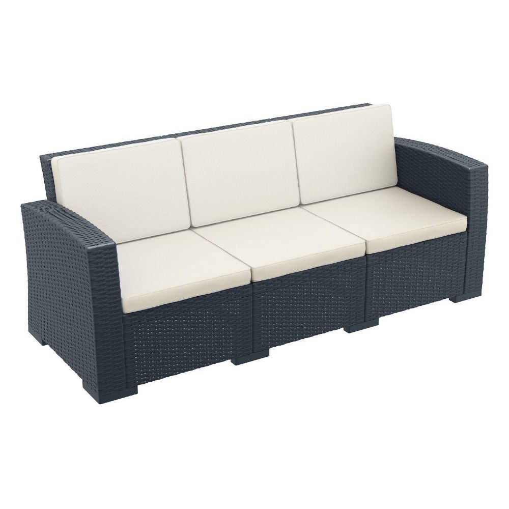 Monaco Wickerlook Sofa XL Dark Gray with Cushion ISP833-DG