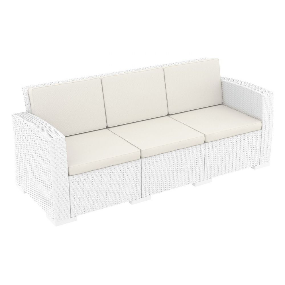 Monaco Wickerlook Sofa XL White with Cushion ISP833-WH