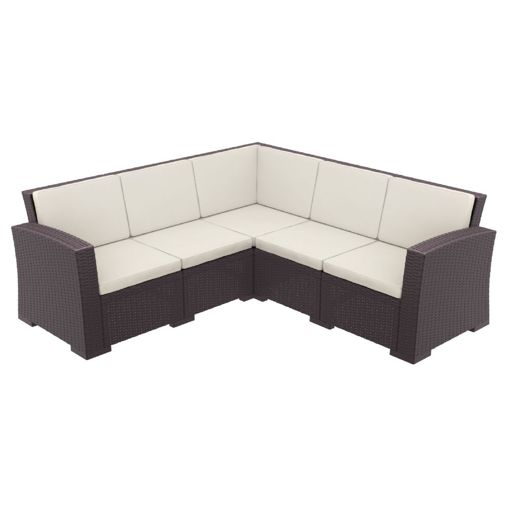 Monaco Wickerlook Corner Sectional 5 Piece with Cushion Brown ISP834-BR