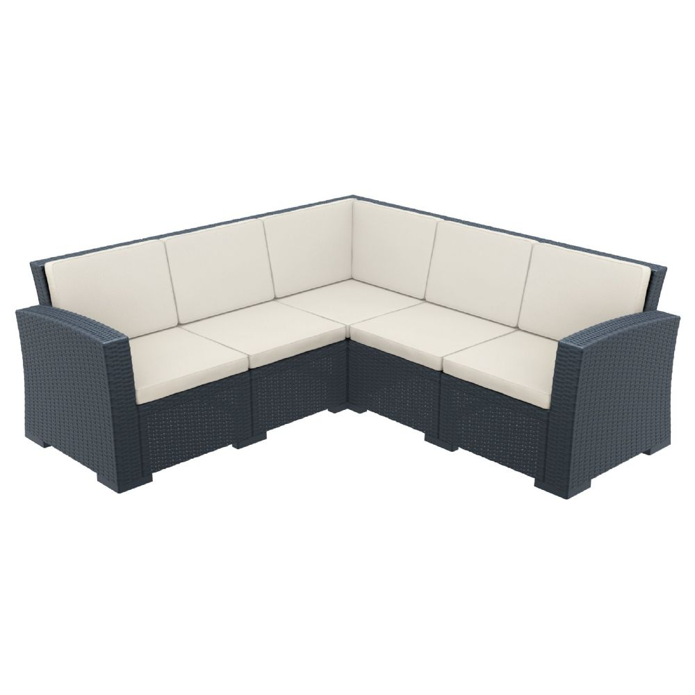 Monaco Wickerlook Corner Sectional 5 Piece with Cushion Dark Gray ISP834-DG