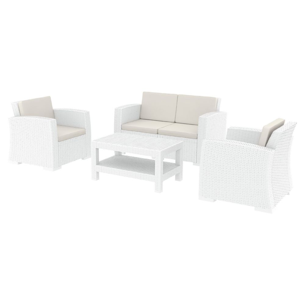 Monaco Wickerlook 4 Piece Loveseat Deep Seating Set White with Cushion ISP835-WH
