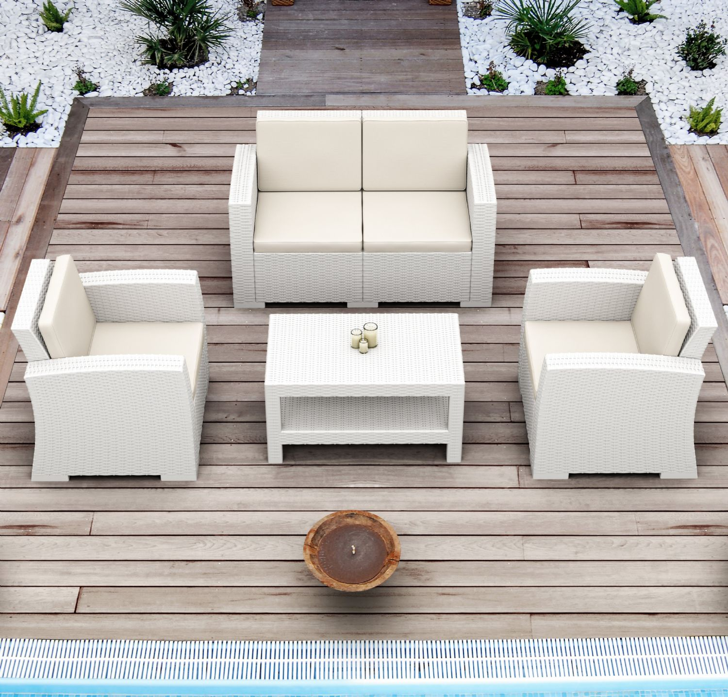 Monaco Wickerlook 4 Piece Loveseat Set Brown with Cushion ISP835-BR-BEI - 4