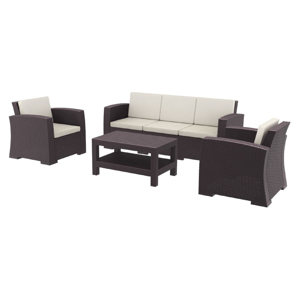 Monaco Wickerlook 4 Piece Sofa XL Set Brown with Cushion ISP836-BR