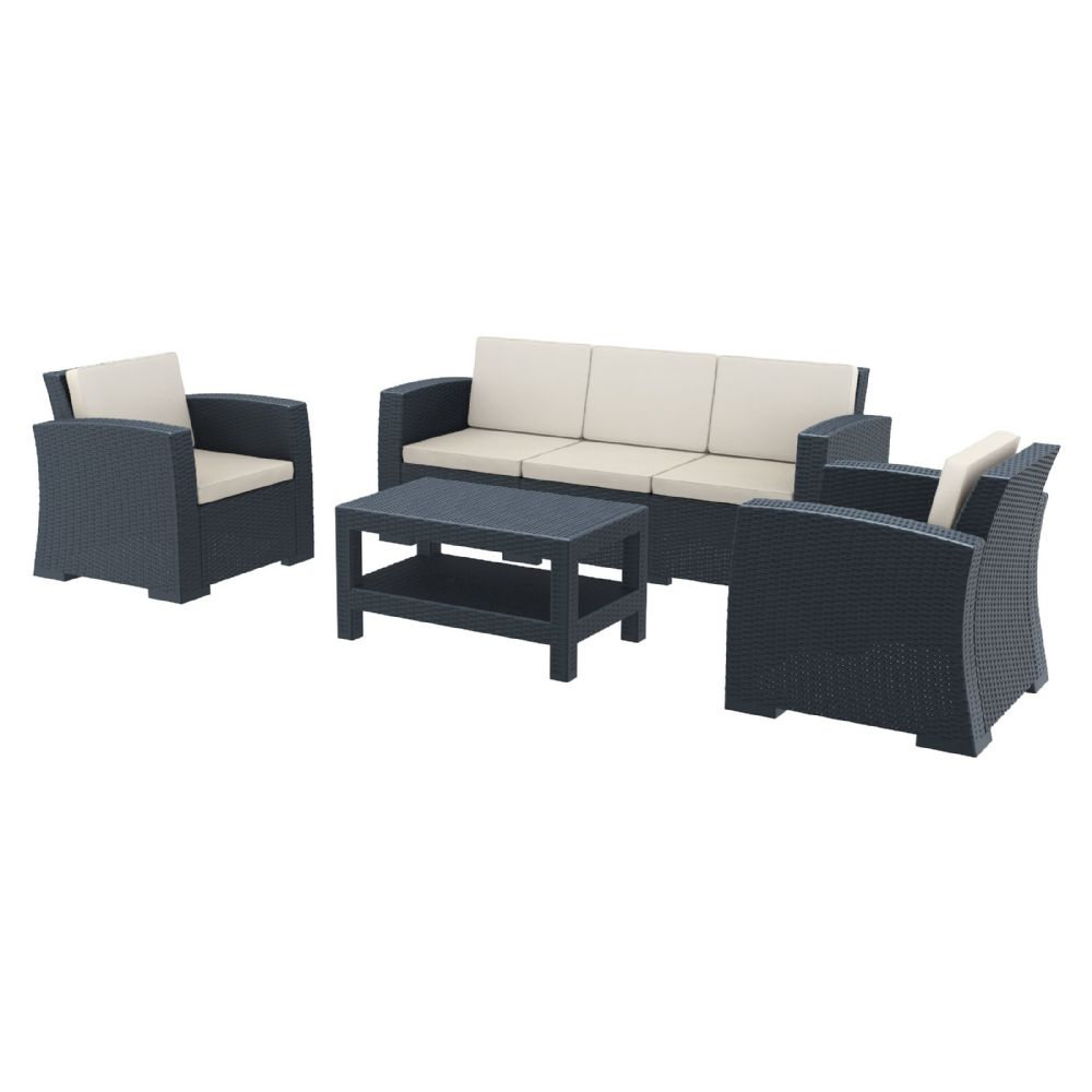 Monaco Wickerlook 4 Piece XL Sofa Deep Seating Set Dark Gray with Cushion ISP836-DG
