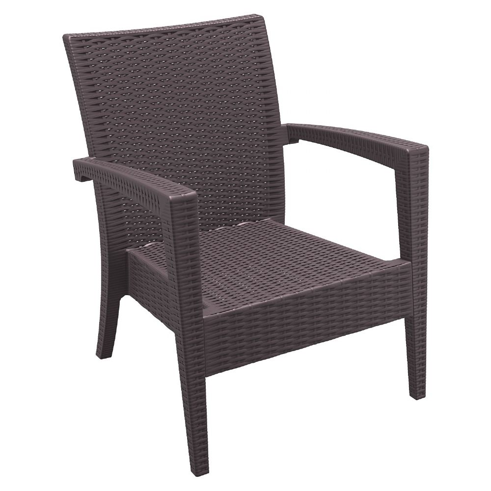 Miami Resin Wickerlook Club Chair Brown ISP850-BR