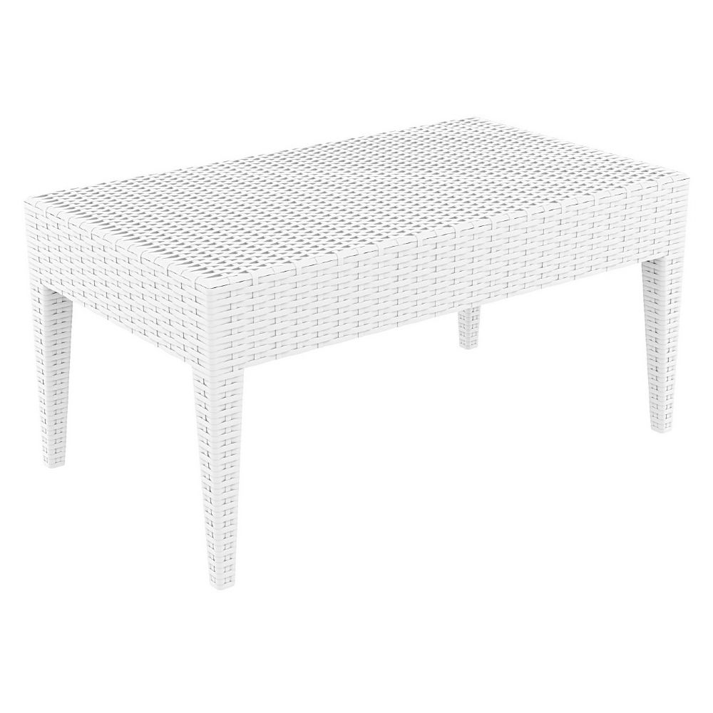 Miami Rectangle Resin Wickerlook Coffee Table White ISP855-WH