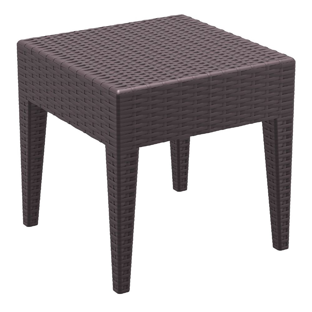 Miami Square Resin Wickerlook Side Table Brown ISP858-BR