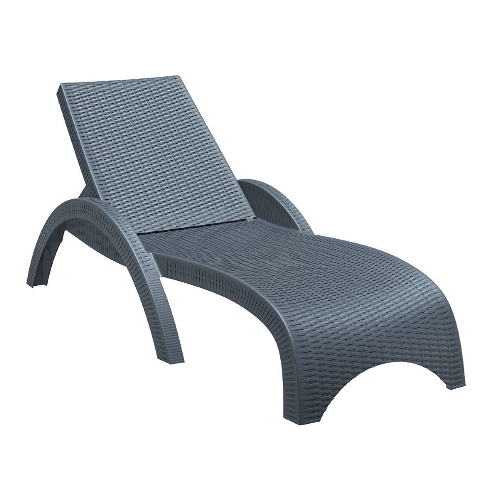 Fiji Resin Wickerlook Chaise Lounge Dark Gray ISP860-DG