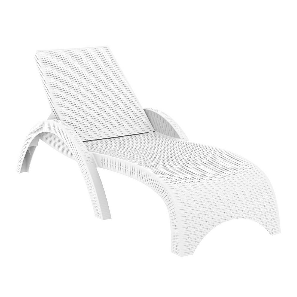 Fiji Resin Wickerlook Chaise Lounge White ISP860-WH
