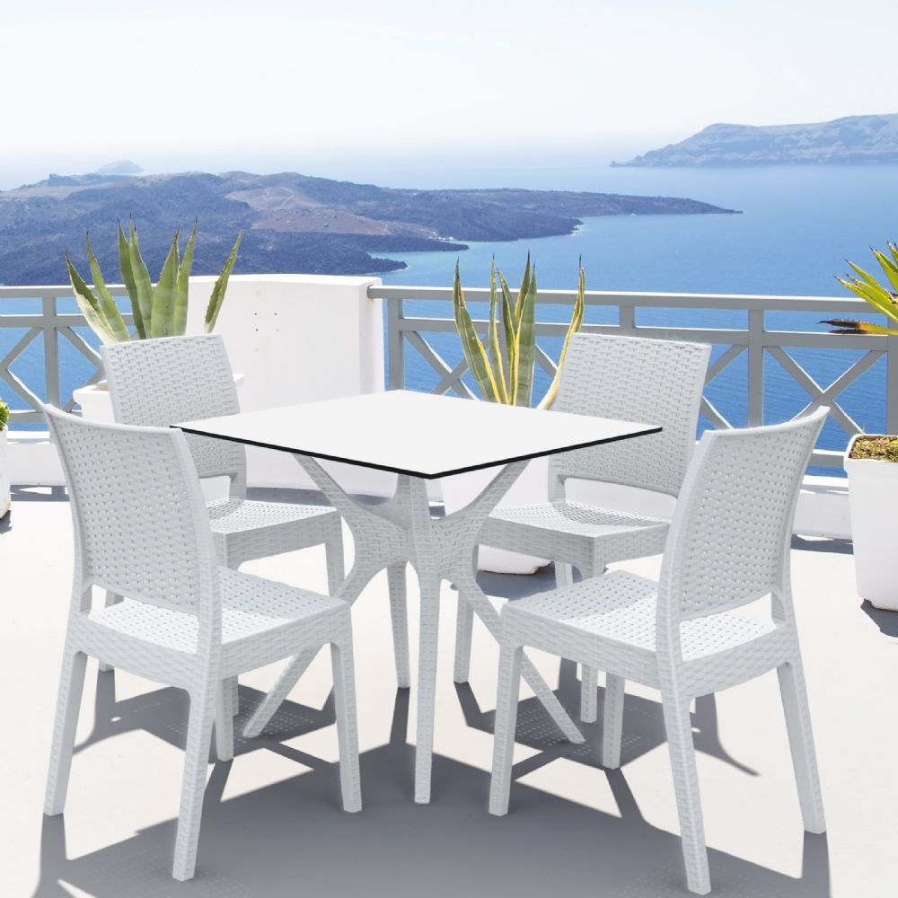 Ibiza Florida Square Patio Dining Set 5 Piece White ISP8631S-WH