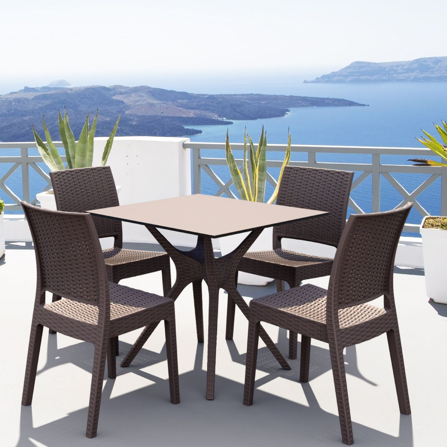 Ibiza Florida Square Patio Dining Set 5 Piece White ISP8631S-WH - 1