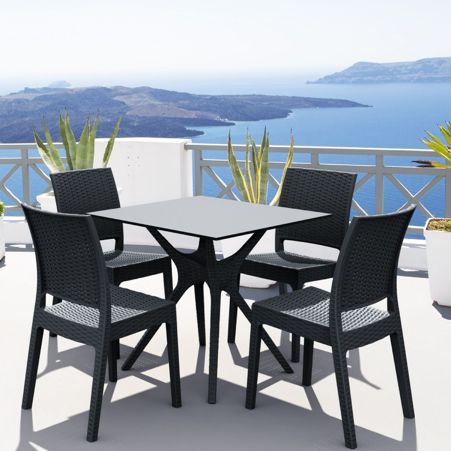 Ibiza Florida Square Patio Dining Set 5 Piece White ISP8631S-WH - 3