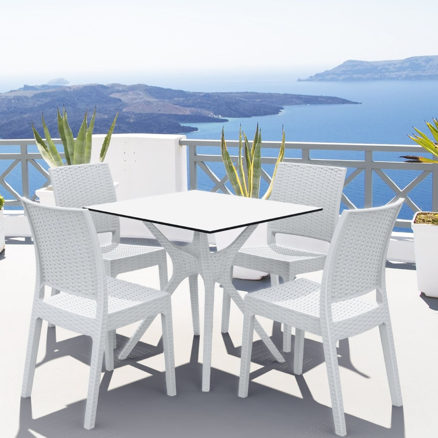 Ibiza Florida Square Patio Dining Set 5 Piece White ISP8631S-WH - 4