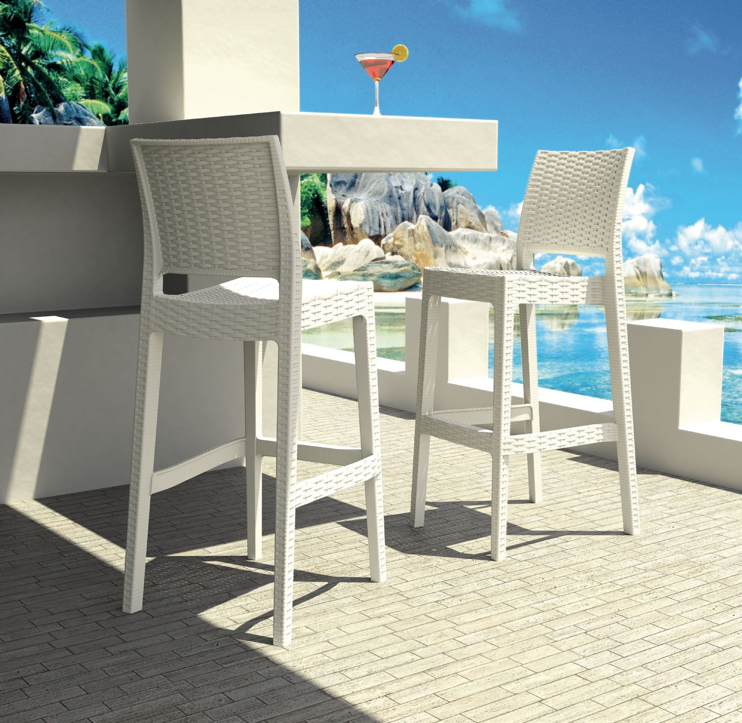 Jamaica Wickerlook Resin Bar Chair White ISP866-WH - 11