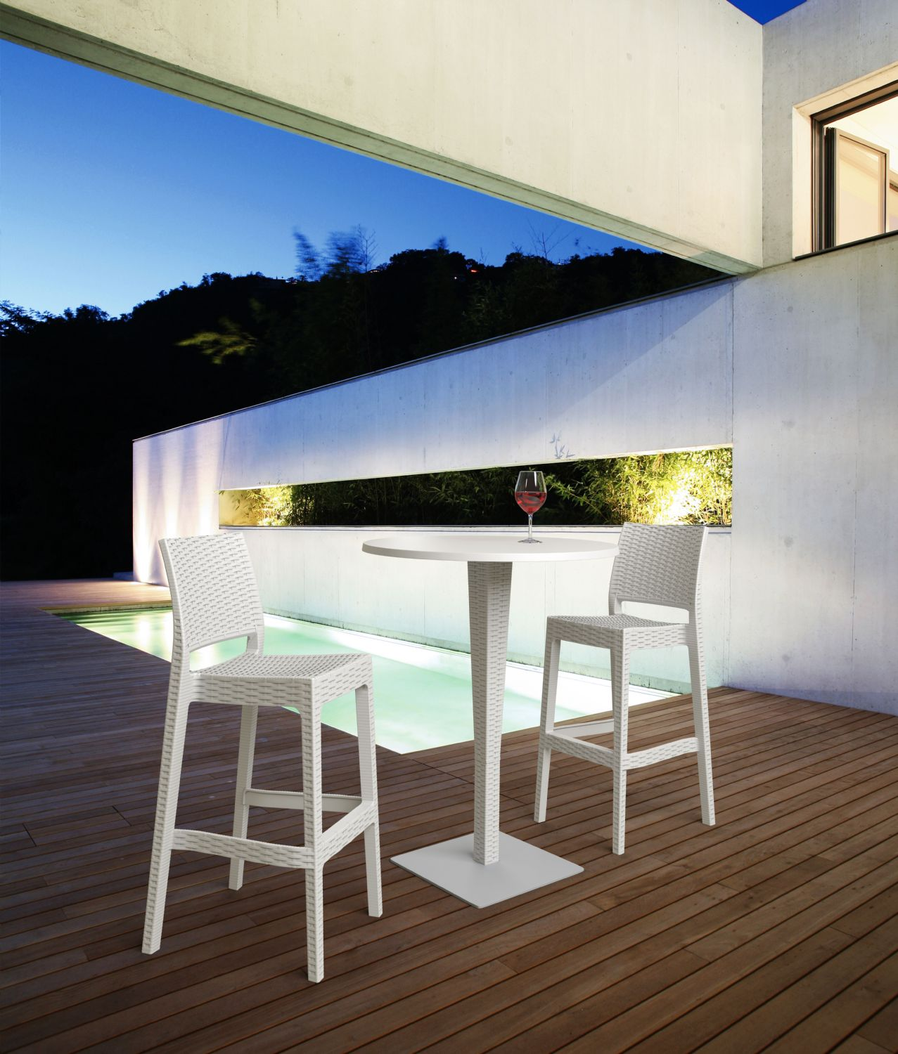 Jamaica Wickerlook Resin Bar Chair White ISP866-WH - 13