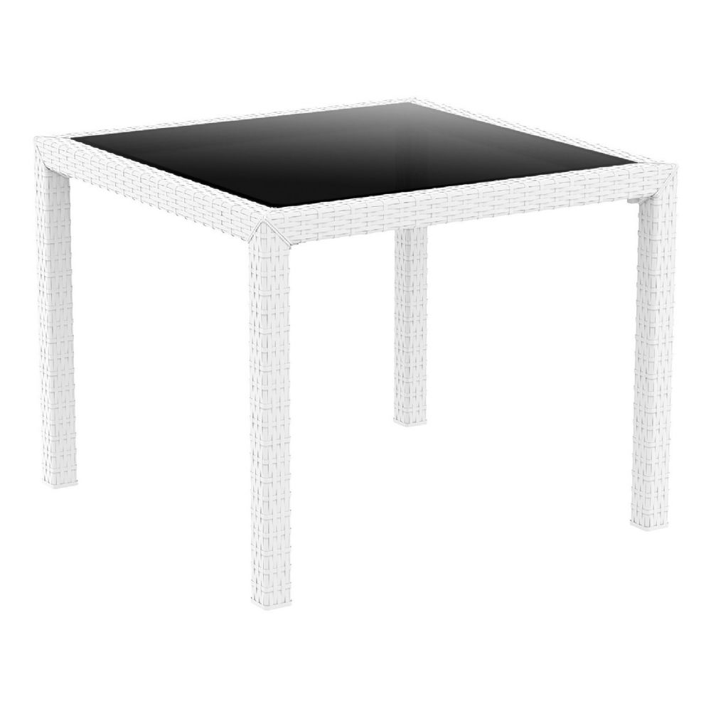 Miami Resin Wickerlook Square Dining Table White 37 inch ISP870-WH
