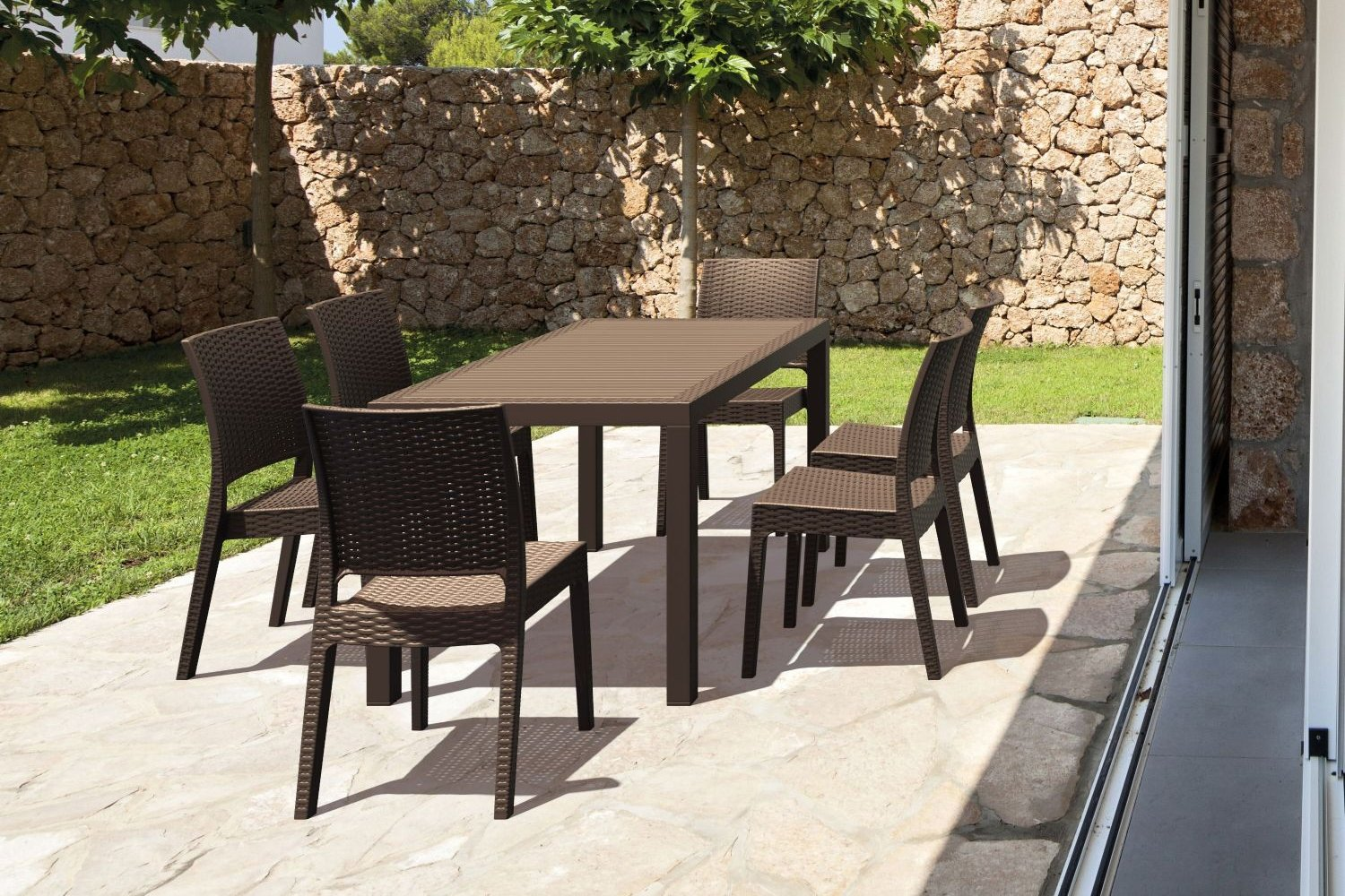 Orlando Wickerlook Patio Dining Set 7 Piece Brown ISP8781S-BR - 1