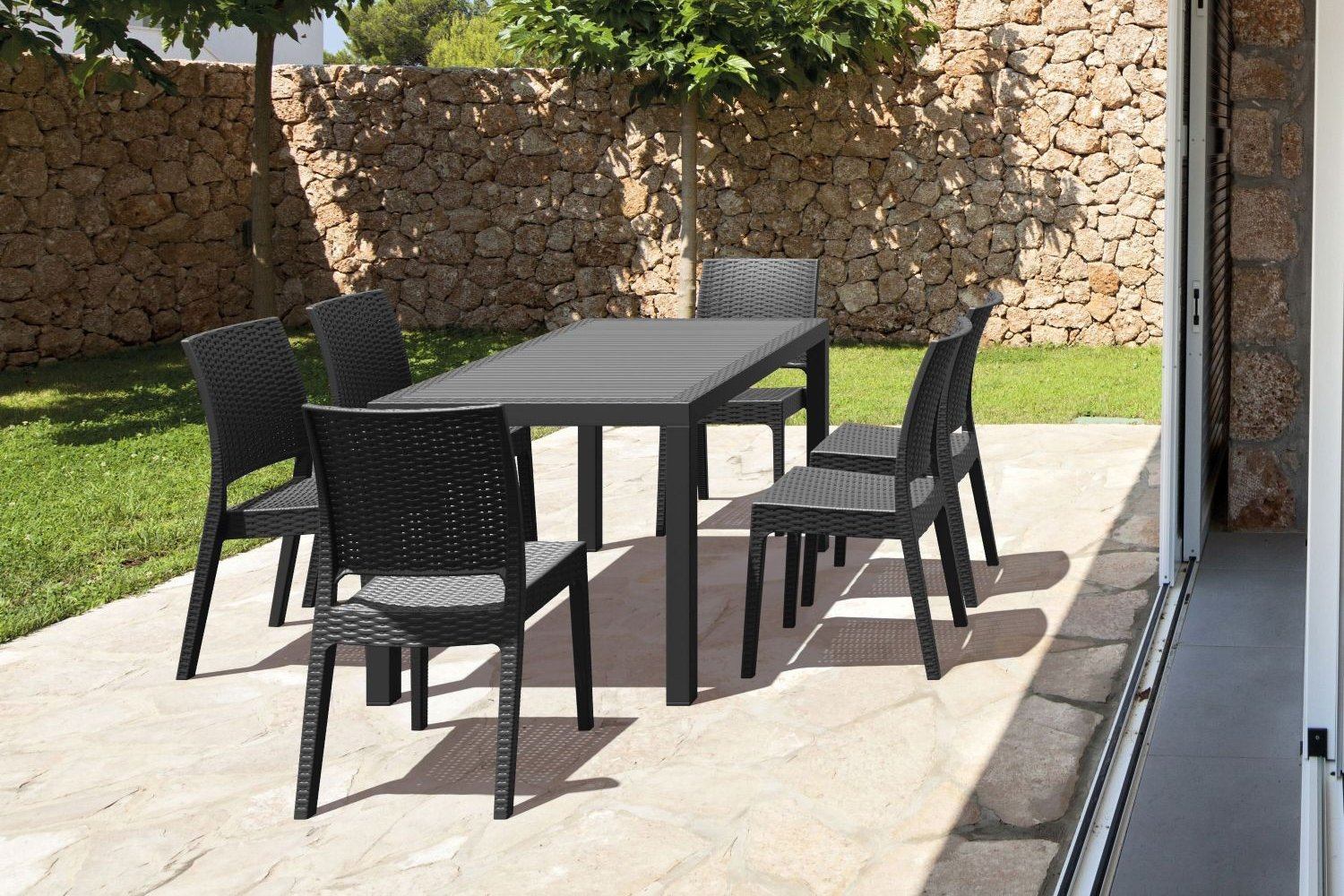 Orlando Wickerlook Patio Dining Set 7 Piece Brown ISP8781S-BR - 2