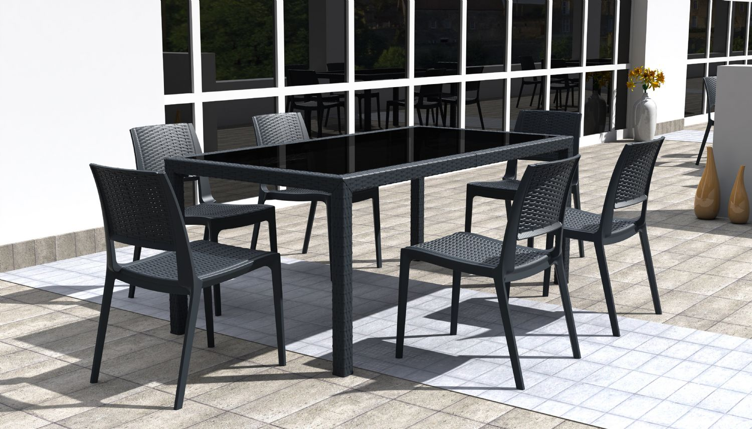 Miami Resin Wickerlook Rectangle Dining Table Brown 71 inch ISP880-BR - 11
