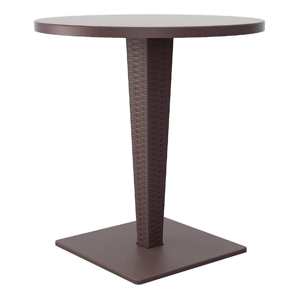 Riva Wickerlook Resin Round Dining Table Brown 28 inch. ISP882-BR