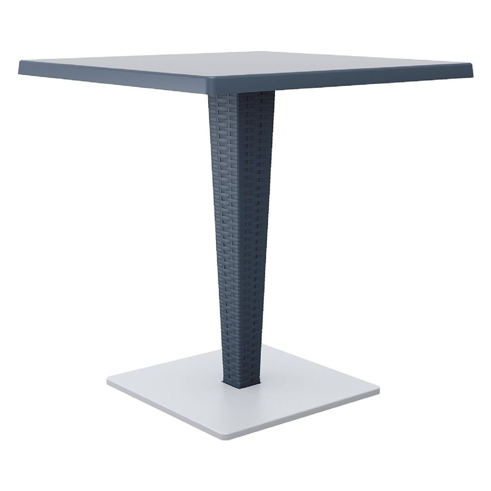 Riva Wickerlook Resin Square Dining Table Gray 28 inch. ISP884-DG